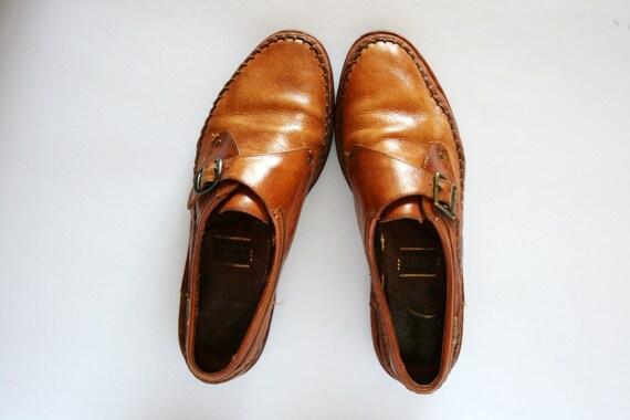 Vintage Caramel Brown Buckled Oxford Flat Shoes