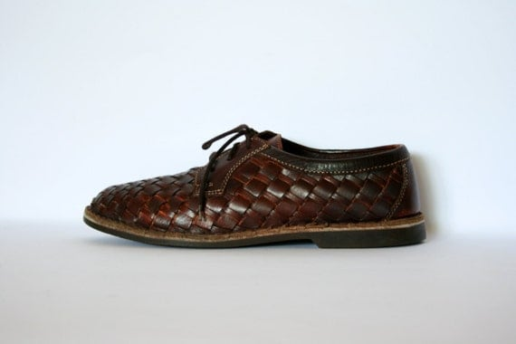 Vintage Maroon Brown Woven Leather Lace Up Oxford Shoes Size 7.5 / 9