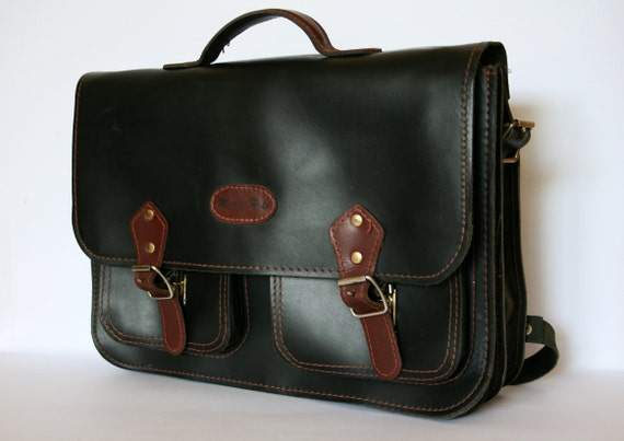 Vintage Large Marco Polo Black Leather Unisex Backpack Briefcase