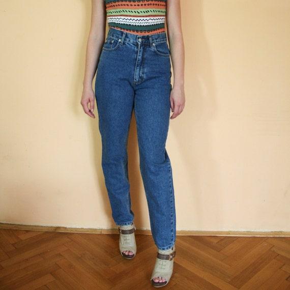 Vintage High Waist Tapered Blue Jeans Pants Medium