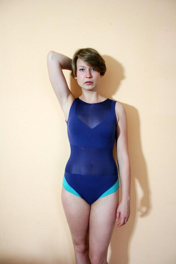 Vintage 80s Navy Blue & Mesh Bodysuit