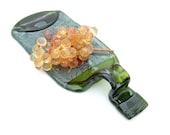 Melted Bottle Slumped Bottle /Flattened Bottle /Cheese Tray Plate Platter/ Upcycled Wine Bottle Snack Plate / Spoonrest