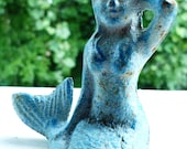 sunbathing mermaid : vintage cast iron figurine, blue