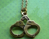 locked up necklace : vintage brass handcuffs charm necklace gold plate chain / super sale necklace