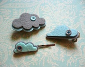 SALE rainy day april showers hair pins : cloudy skies grey and blue felt rain clouds with buttons for a stormy day hair pins clips