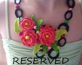 Reserved for Luna4tree    Crochet necklace...Knitted jewelry...Handmade accessory...Pink roses and colored wooden beads...