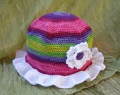 Crochet girl hat...Rainbow beanie...White flower baby and toddler girl cap...photo prop..