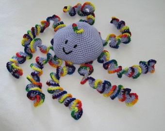 Crochet  Large Rainbow Octopus toy