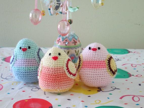 Crochet toy animal...Set of 3 birds. Stuffed Birds...Safe colorful chickens
