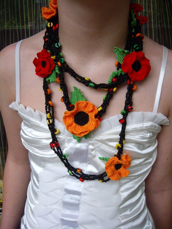 Crochet Necklace Handmade Accessory Poppy and Wooden Beads