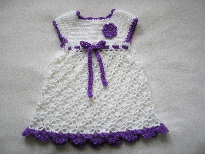 Crochet Baby Girl dress Shine soft photo prop by GalyaKireva