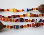 Long paper bead necklace - yellow, orange, red - Handmade paper beads