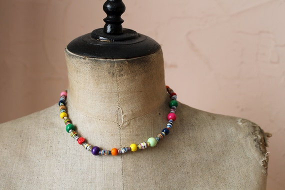 Colourful paper & wooden bead necklace - handmade paper beads