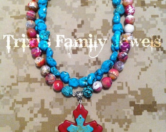 Hot Pink and Turquoise Crosses Necklace