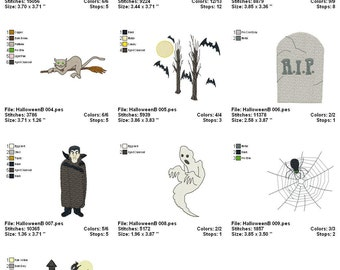Digitized Machine Embroidery Designs - Halloween B - Set of 10 - Instant Download