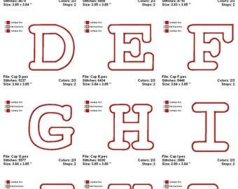 Digitized Machine Embroidery Designs - Applique Alphabet - Instant Download