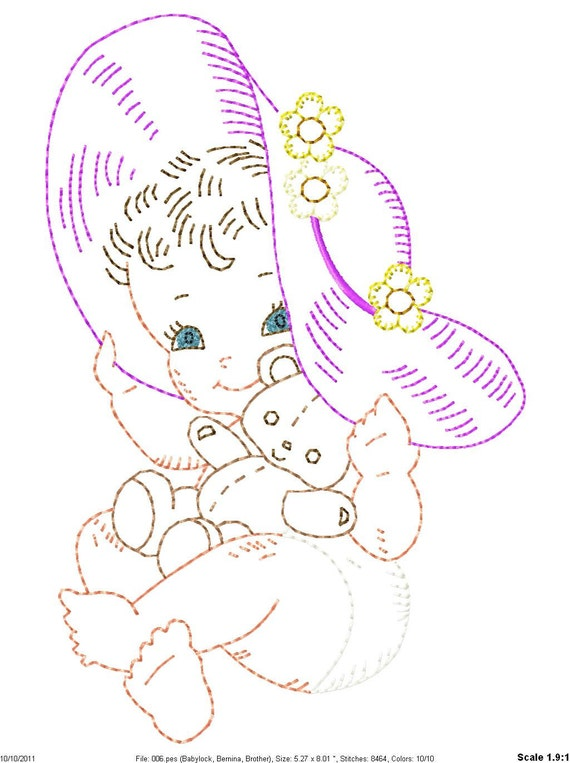 Machine Embroidery Digitized Vintage Designs Pretty Baby