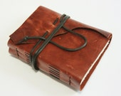 Leather Journal, Hand-bound, Marbled Red Brown Leather by The Orange Windmill on Etsy