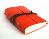 Leather Journal, Orange, Hand-Bound 4.5 x 6 Journal by The Orange Windmill on Etsy