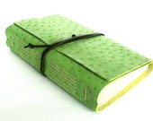 Large Chunky Leather Journal, Embossed Lime Green, Hand-Bound 6 x 9 Journal by The Orange Windmill on Etsy
