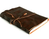 Leather Journal, Chestnut Brown, Hand-Bound 4.5 x 6 Journal by The Orange Windmill on Etsy