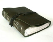 Leather Journal, Olive Green, Hand-Bound 4.5 x 6 Journal by The Orange Windmill on Etsy