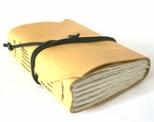 Chunky Leather Journal, Pale Yellow, Hand-Bound 4.5 x 6 Journal by The Orange Windmill on Etsy