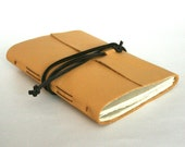 Slim Leather Journal, Thin Pale Yellow 4.5 x 6 Journal by The Orange Windmill on Etsy