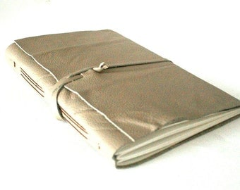 Large Leather Journal, Light Taupe, Hand-Bound 6 x 9.25 Journal by The Orange Windmill