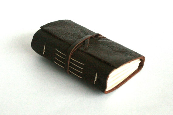 Leather Journal, Pocket-Size, Brown, Smoky Mocha, Hand-Bound 3.5 x 4 Journal by The Orange Windmill on Etsy