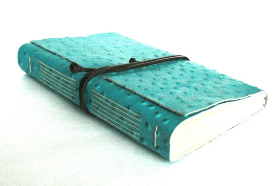 Large Leather Journal, Embossed Turquoise, Hand-Bound 6 x 9 Journal by The Orange Windmill on Etsy