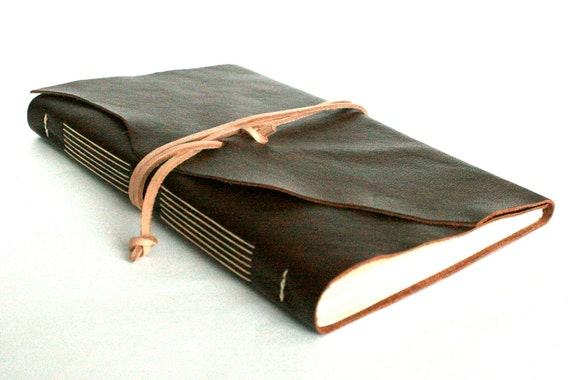 Large Leather Journal, Brown, Hand-Bound 6 x 9 Journal by The Orange Windmill on Etsy