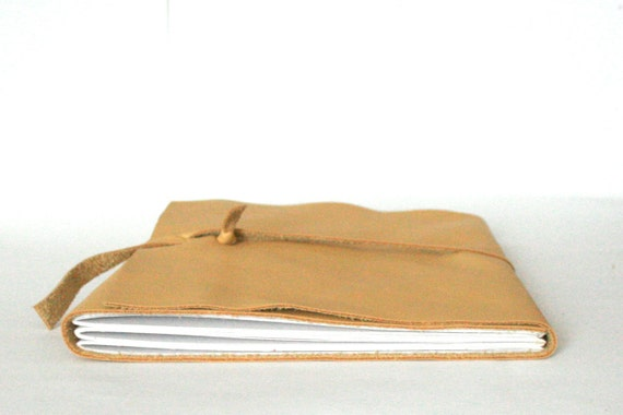 Large Leather Journal, Yellow, Hand-Bound 7 x 8.5 Journal by The Orange Windmill