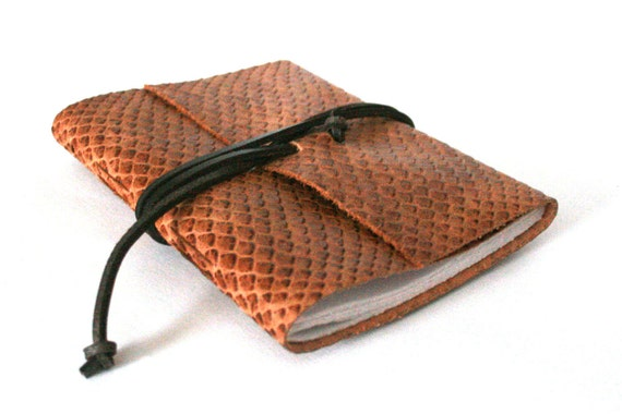 Slim Leather Journal, Snake Skin 4.5 x 6 Journal by The Orange Windmill on Etsy