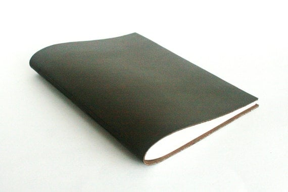 """Large Leather Journal, Slim, Brown, Hand-Bound """"The Gentleman"""" 7 x 9 by The Orange Windmill on Etsy"""