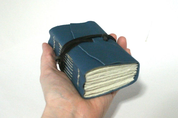 Extra Chunky Leather Journal, Newark Blue Hand-Bound 3 x 4.5 Journal by The Orange Windmill on Etsy