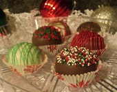12 CHRISTMAS Gingerbread CAKE TRUFFLES - Only 10.00 Dollars each box including shipping - Includes 12 Cake Truffles in Liners as shown