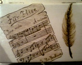Für Elise Box with Quill Pyrography
