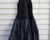 Vintage Carolyne Roehm blk cashmere dress w leather,beading, sequints, taffeta bottom ala 1980s