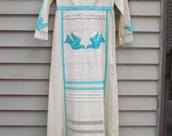 vintage Mexican Couture long dress 1960's-1970's-embroidery,lace, appliques must see.