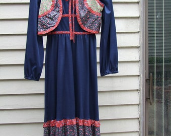 Vintage Navy Peasant dress calico trim,vest,matching ruffled hemline ala 1960s1970s hippie boho