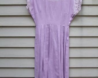 Vintage Cutwork and Embroidered lavender linen dress 1950s