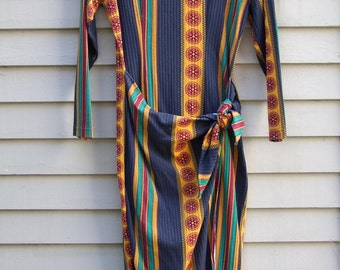Fun vibrant dress ready for the Fall, wrap across skirt ala 1980s