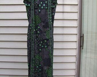 Maxi dress blk,green,white print w sequints, ruffels. ala 1970s