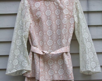 Ecru lace suit with peach lining matching belt ala 1970s with bell sleeves