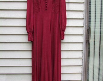 Vintage Raspberry Maxi dress from Jody T of Ca. w lace collar,smocked sleeves and sides ala 1970s