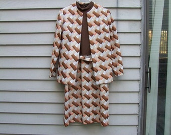 Vintage Autumn colors Bargello pattern 2 pc dress with jacket ala 1970s