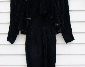 Vintage black Velvet Bombshell dress Italian couture with capelet effect ala 1940s