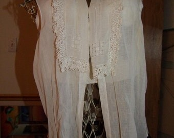Vintage handkerchief cotton with Irish crochet lace hand made blouse ala 1930s