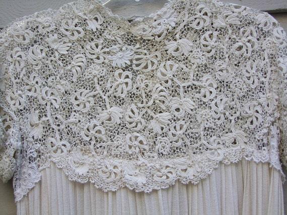 Vintage Irish crochet lace and silk blend fabric dress ala 1930s